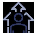 Icono Optimización de recursos y aumento de rendimiento de la organización.